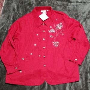 QUACKER FACTORY RED EMBELLISHED JEAN JACKET TOP